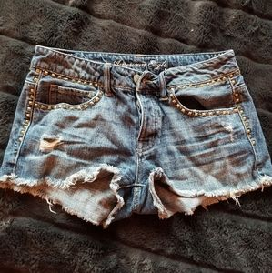 American Eagle Gold Studded Jean Shorts